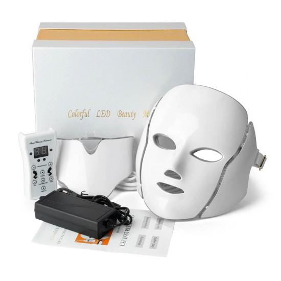 LED Μάσκα φωτοθεραπείας προσώπου 7 χρωμάτων με ΛΑΙΜΟ & 200 λυχνίες led MASK - 002